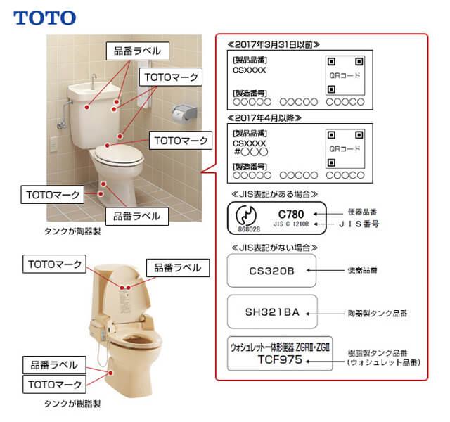 TOTOトイレ タンク品番と便器品番と便座品番